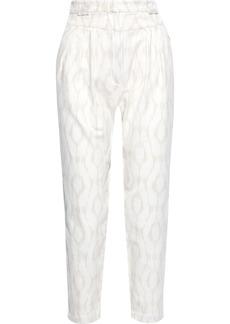 Iro Woman Trizay Cropped Cotton-jacquard Tapered Pants Ivory