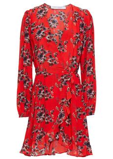 Iro Woman Xena Ruffle-trimmed Floral-print Crepe De Chine Mini Wrap Dress Red
