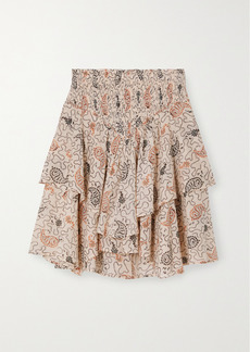 Isabel Marant Also Tiered Shirred Printed Cotton-voile Mini Skirt