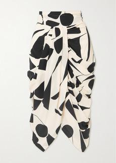 Isabel Marant Betina Gathered Printed Silk-blend Skirt