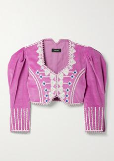 Isabel Marant Cidela Cropped Embellished Embroidered Velvet Jacket