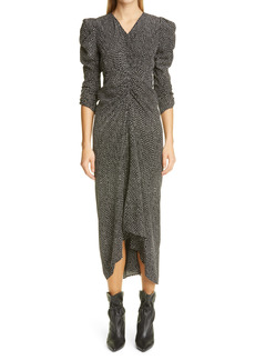Isabel Marant Albi Dot Print Ruched Silk Dress