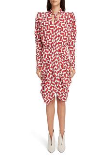 Isabel Marant Atoae Geo Print Long Sleeve Stretch Silk Dress
