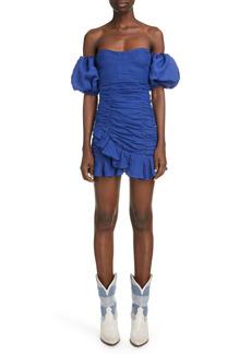 Isabel Marant Jasmine Ruched Off the Shoulder Dress