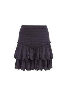 Isabel Marant Landora tiered shirred cotton-blend mini skirt