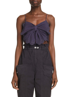 Isabel Marant Linece Butterfly Crinkle Cotton & Silk Crop Top
