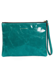 Isabel Marant Netah Leather Wristlet Clutch - Green