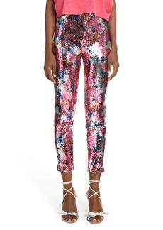 Isabel Marant Odizia Floral Sequin Crop Pants
