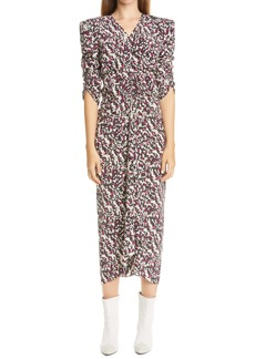 Isabel Marant Print Ruched Ruffle Stretch Silk Midi Dress