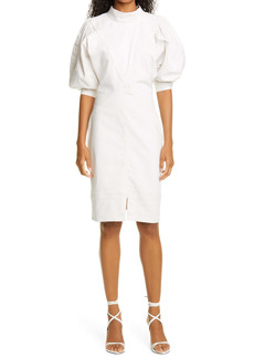 Isabel Marant Étoile Laure Puff Sleeve Stretch Cotton & Linen Blend Dress