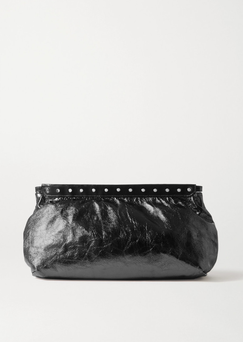 Isabel Marant Luz Small Studded Metallic Crinkled-leather Clutch
