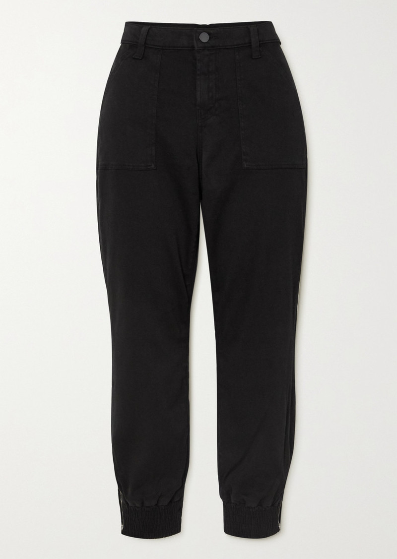 J Brand Arkin Cropped Cotton-blend Sateen Track Pants