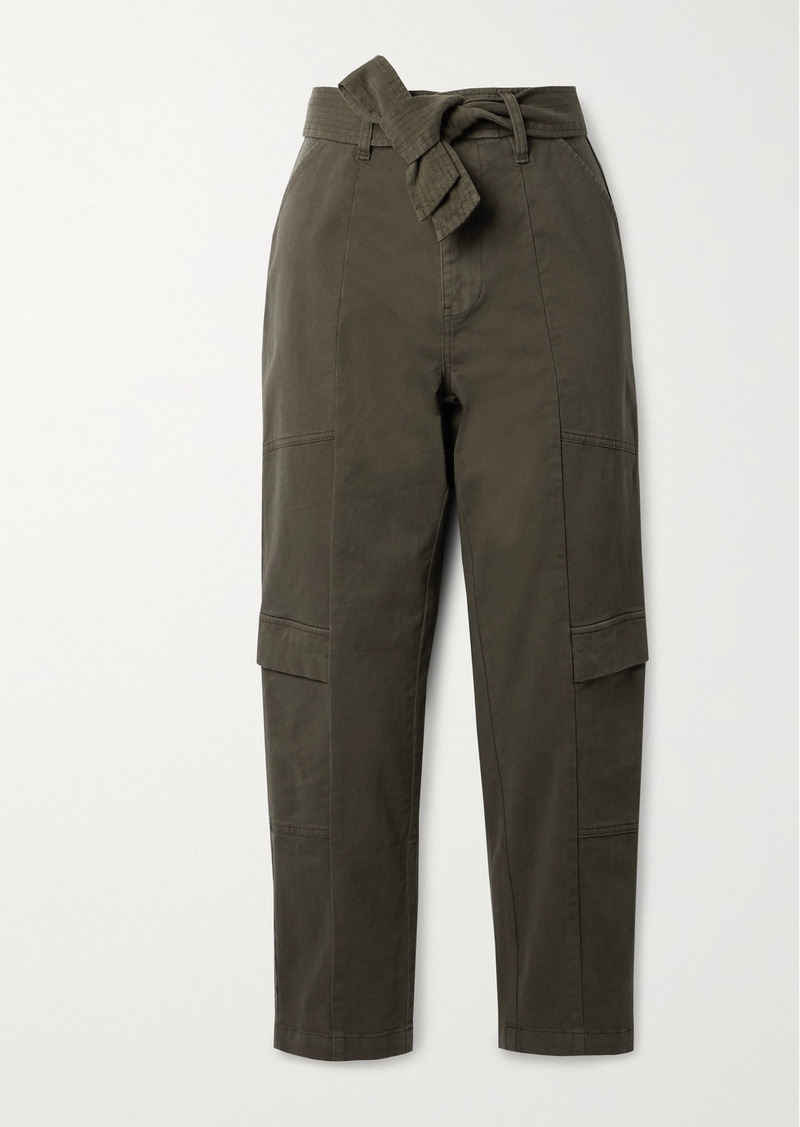 J Brand Athena Cropped Belted Brushed Cotton-blend Twill Tapered Pants