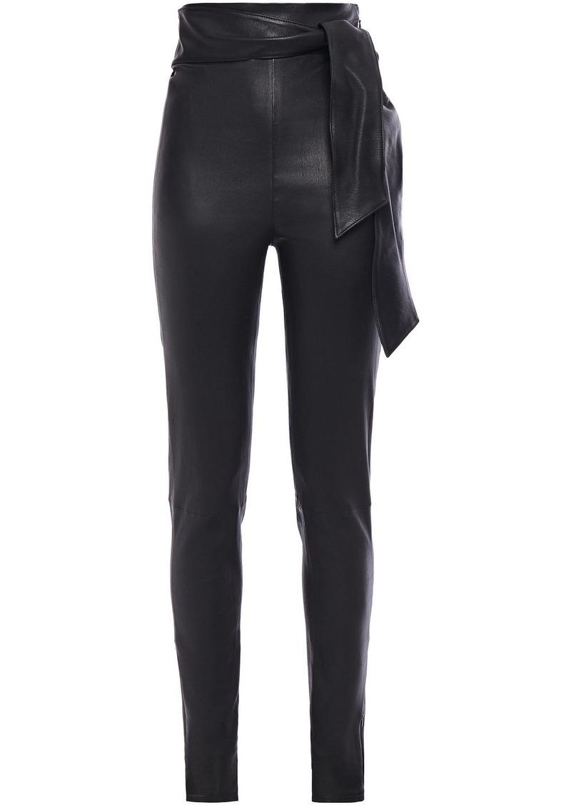 J Brand Woman + Elsa Hosk Friday Belted Stretch-leather Leggings Black