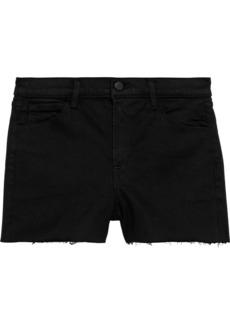 J Brand Woman 1044 Frayed Denim Shorts Black