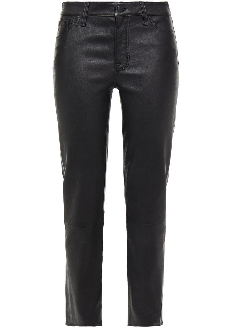J Brand Woman Adele Leather Straight-leg Pants Black