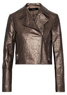 J Brand Woman Aiah Coated Snake-print Cotton-blend Twill Biker Jacket Bronze