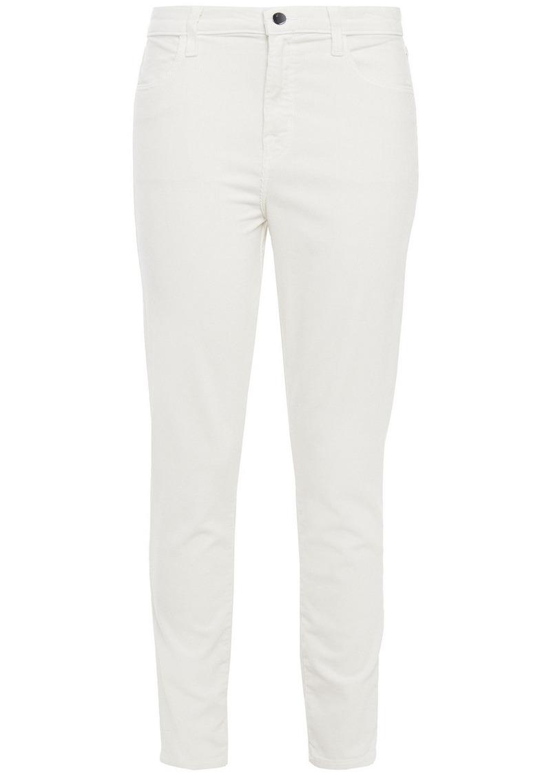 J Brand Woman Alana Cropped Cotton-blend Corduroy Skinny Pants Off-white