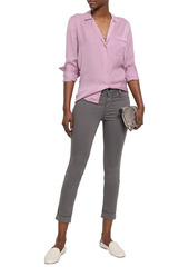 J Brand Woman Anja Cropped Cotton-blend Sateen Skinny Pants Dark Purple
