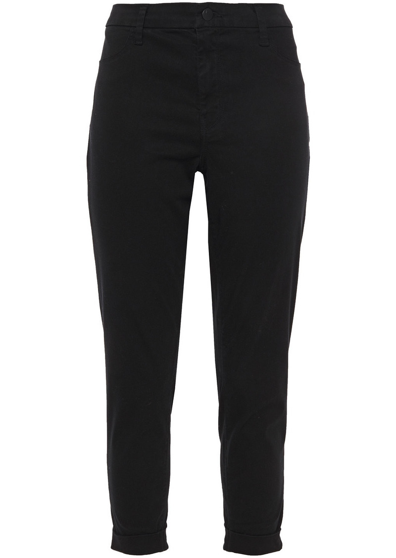 J Brand Woman Cropped Sateen Skinny Pants Black