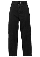 J Brand Woman Athena Belted Cotton-blend Twill Tapered Pants Black