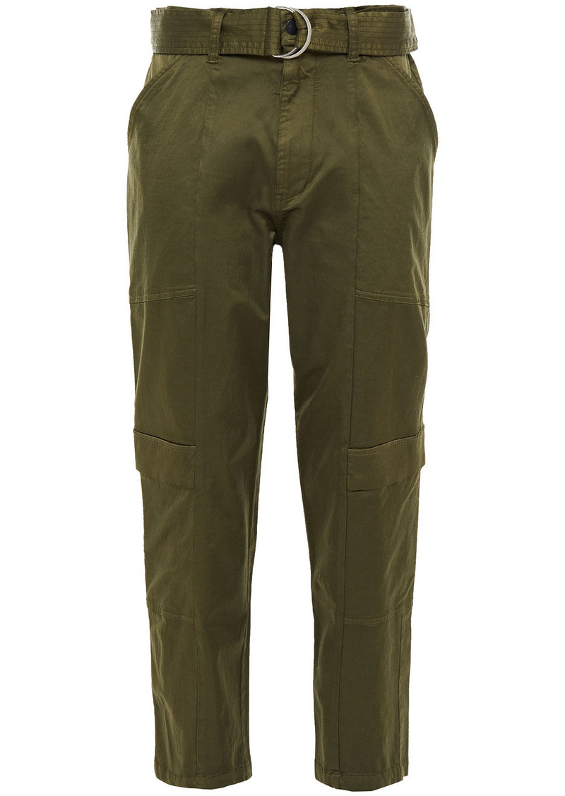 J Brand Woman Athena Cropped Belted Cotton-blend Sateen Tapered Pants Army Green