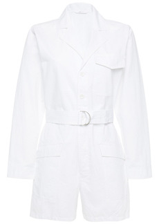 J Brand Woman Belted Cotton And Linen-blend Playsuit White