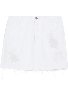 J Brand Woman Bonny Embellished Frayed Denim Mini Skirt White