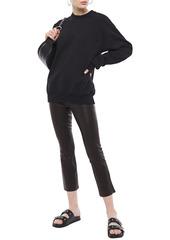 J Brand Woman Cropped Stretch-leather Bootcut Pants Black