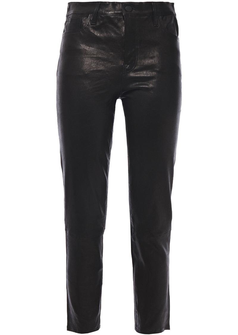 J Brand Woman Cropped Stretch-leather Slim-leg Pants Black