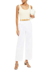 J Brand Woman Ebbe Stretch-cotton Twill Wide-leg Pants Mustard