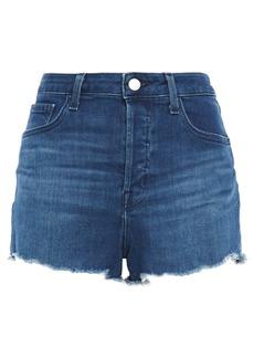 J Brand Woman Gracie Frayed Denim Shorts Mid Denim