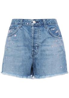 J Brand Woman Gracie Frayed Painted Denim Shorts Light Denim