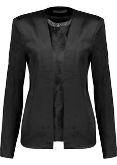 J Brand Woman Greville Calf Hair-paneled Duchesse-satin Jacket Black