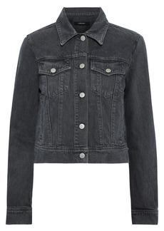 J Brand Woman Harlow Cropped Snake-print Denim Jacket Dark Gray