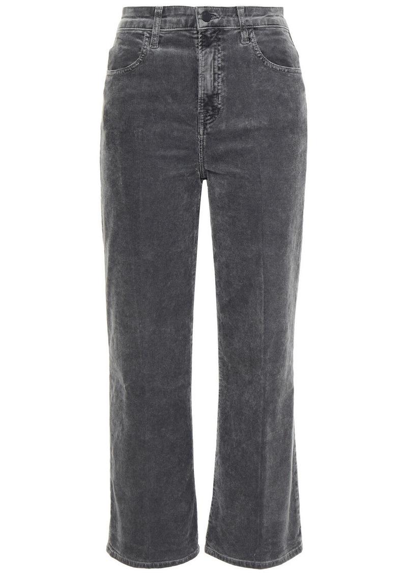 J Brand Woman Joan Faded Cotton-blend Corduroy Wide-leg Pants Dark Gray