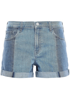 J Brand Woman Johnny Two-tone Denim Shorts Mid Denim