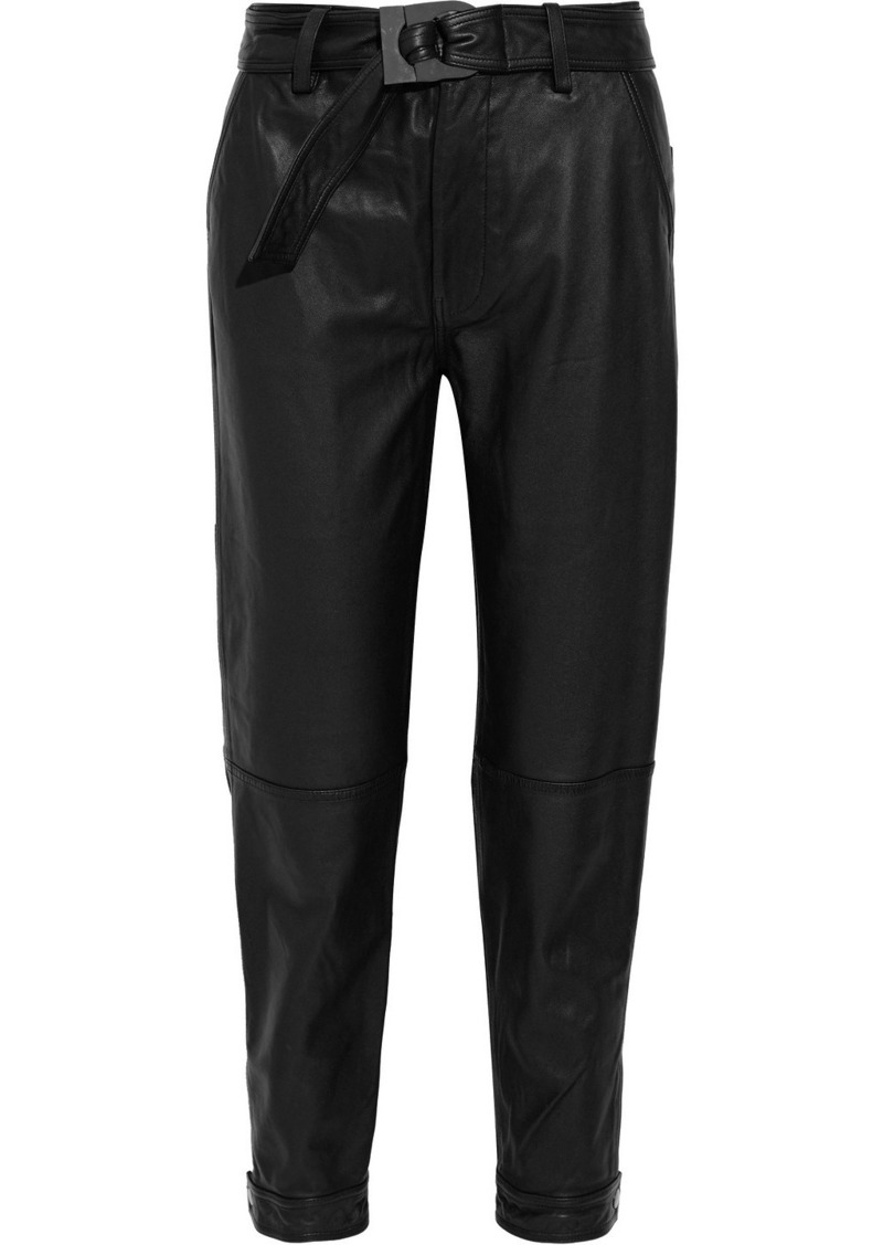J Brand Woman Jonah Belted Leather Tapered Pants Black