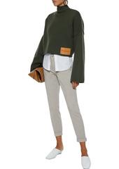 J Brand Woman Josie Cropped Brushed Cotton-blend Twill Slim-leg Pants Stone