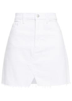 J Brand Woman Jules Distressed Denim Mini Skirt White