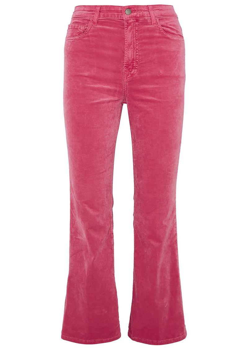 J Brand Woman Julia Cotton-blend Velvet Kick-flare Pants Fuchsia
