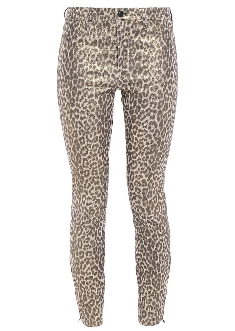 J Brand Woman L8001 Leopard-print Stretch-leather Skinny Pants Animal Print