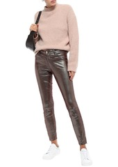 J Brand Woman L8001 Metallic Lizard-effect Leather Skinny Pants Merlot