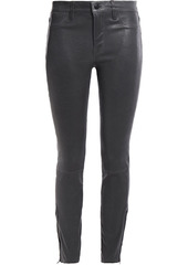 J Brand Woman L8001 Stretch-leather Skinny Pants Charcoal