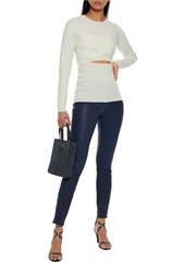 J Brand Woman L8001 Stretch-leather Skinny Pants Storm Blue