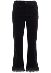 J Brand Woman Lace-trimmed Velvet Kick-flare Pants Black