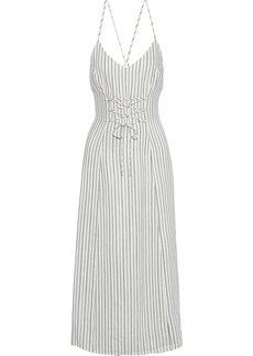 J Brand Woman Lace-up Striped Jacquard Midi Dress Off-white