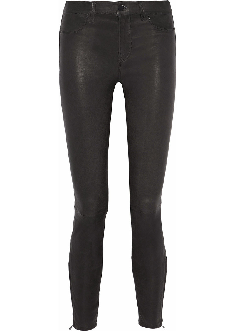 J Brand Woman Leather Skinny Pants Charcoal