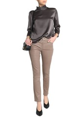 J Brand Woman Maude Leather Slim-leg Pants Taupe