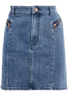 J Brand Woman Lillian Faded Denim Mini Skirt Mid Denim
